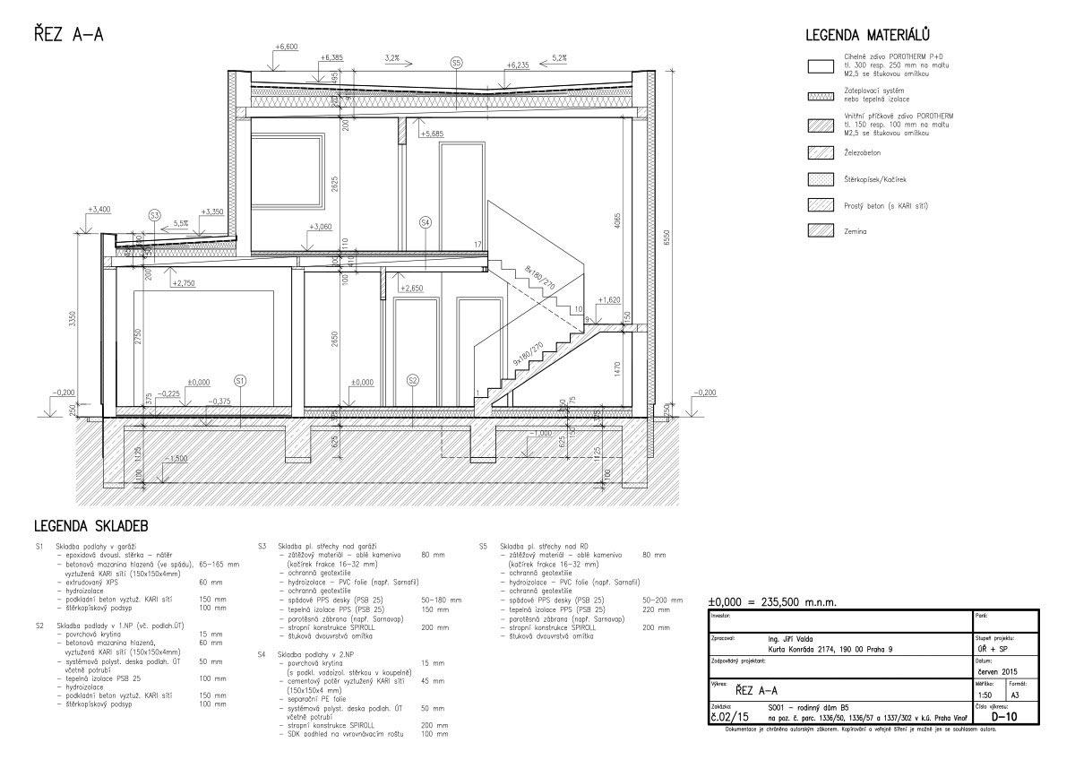 Solitérní dům Ve Vinoři - typ b5 – dokumentace