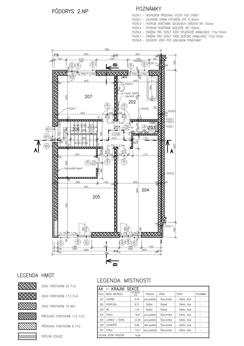 Řadové domy Vinoř - typ A - dokumentace